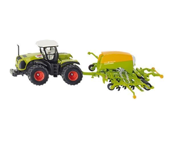 Miniatura tractor CLAAS Xerion 5000 con sembradora AMAZONE 6001 Cayena