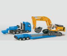 Miniatura camión MAN con góndola y excavadora LIEBHERR 974 - Ítem1