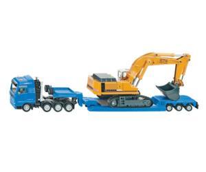 Miniatura camión MAN con góndola y excavadora LIEBHERR 974