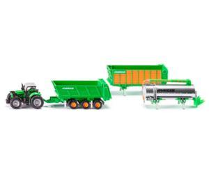Miniatura tractor DEUTZ-FAHR Agrotron con remolque JOSKIN sistema cargo