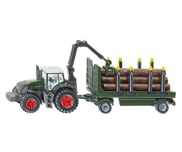 tractor fendt 939 con remolque porta-troncos