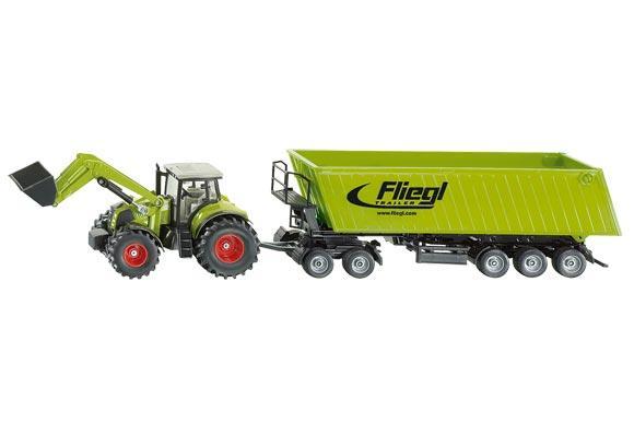 Miniatura tractor CLAAS Axion con pala y remolque FLIEGL