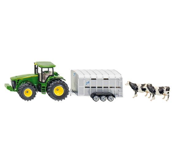 Miniatura tractor JOHN DEERE con remolque WILLIAMS para transporte animales