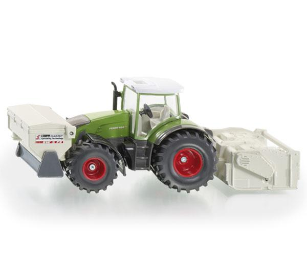 Miniatura tractor FENDT 936 Vario con accesorios de construcción de carreteras