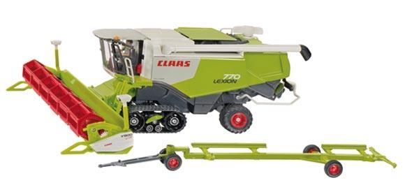 Miniatura cosechadora CLAAS Lexion 770 con corte y carro de transporte