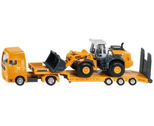 Miniatura camión MAN con góndola y cargadora LIEBHERR 580
