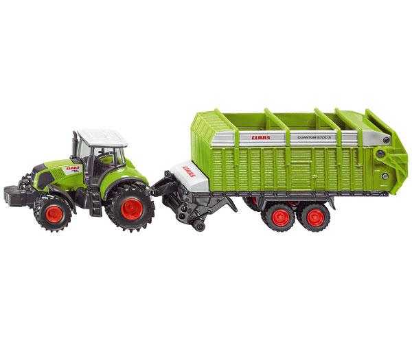 Miniatura tractor CLAAS Axion 850 con remolque CLAAS Quantum