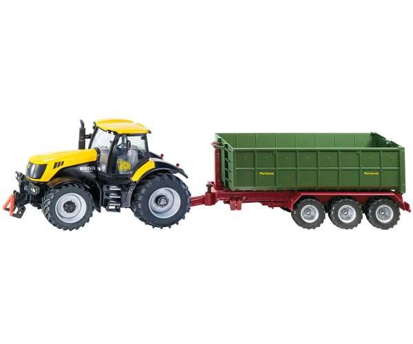 Miniatura tractor JCB 8250 con remolque Fortuna