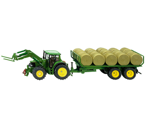Miniatura tractor JOHN DEERE 6820 con remolque transporte pacas