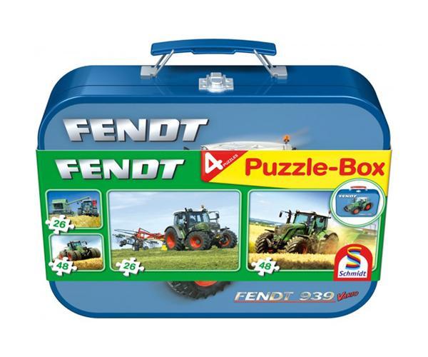 Caja metálica con 4 puzzles tractor FENDT 939 Vario