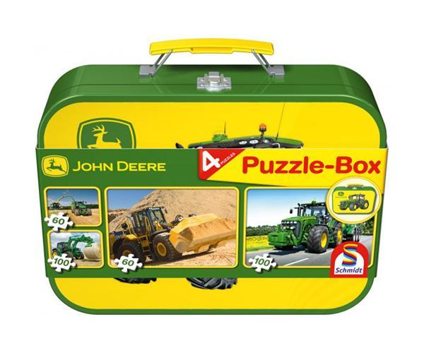 Caja metálica con 4 puzzles tractores JOHN DEERE