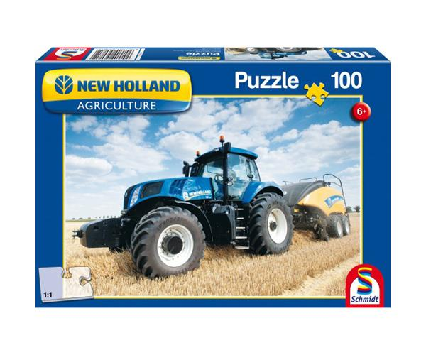 Puzzle tractor NEW HOLLAND con empacadora NEW HOLLAND 1290 de 100 piezas