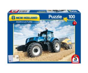 SCHMIDT Puzzle tractor NEW HOLLAND con empacadora NEW HOLLAND 1290 de 100 piezas