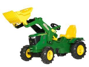 Tractor de pedales JOHN DEERE 6210 R con pala y neumaticos goma