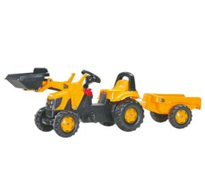 Tractor de pedales JCB con pala y remolque