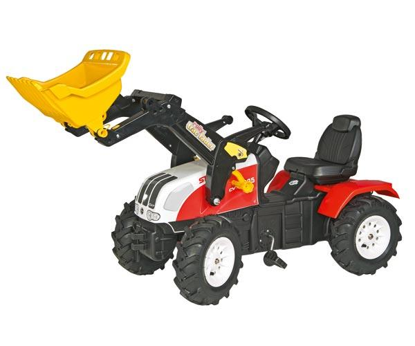 Tractor de pedales STEYR CVT 170 con pala y neumáticos de goma