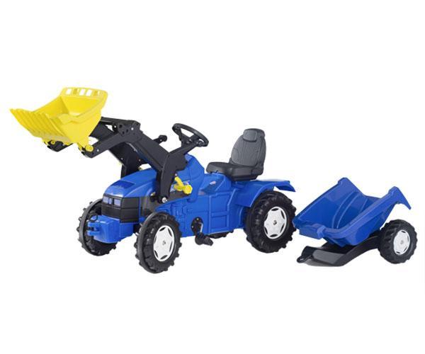Tractor de pedales NEW HOLLAND TD 5050 con pala y remolque Rolly Toys 049417