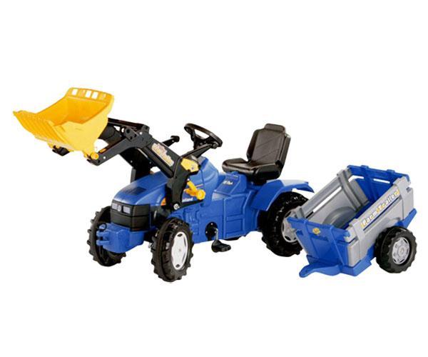 Tractor de pedales NEW HOLLAND TD 5050 con pala y remolque Rolly Toys 049431