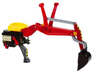 Retrocargadora roja para tractores de pedales