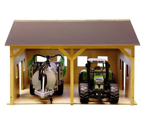 Almacén para 2 tractores de juguete escala 1:16