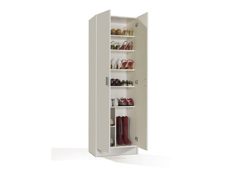 Zapatero alto de siete estantes con baldas regulables para for Mueble para guardar zapatos madera