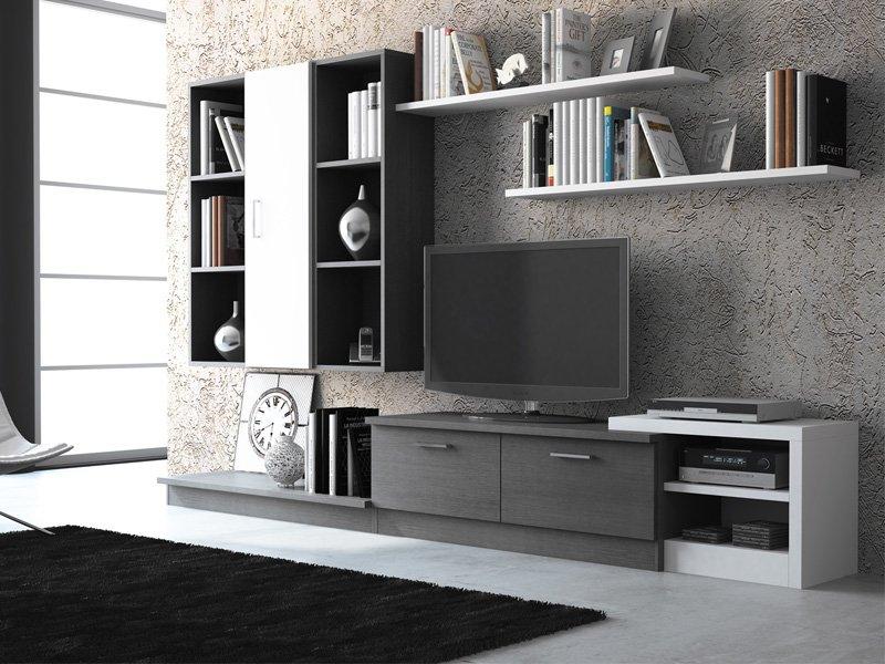 de salón blanco y negro, muebles salón blanco y negro, modular salon