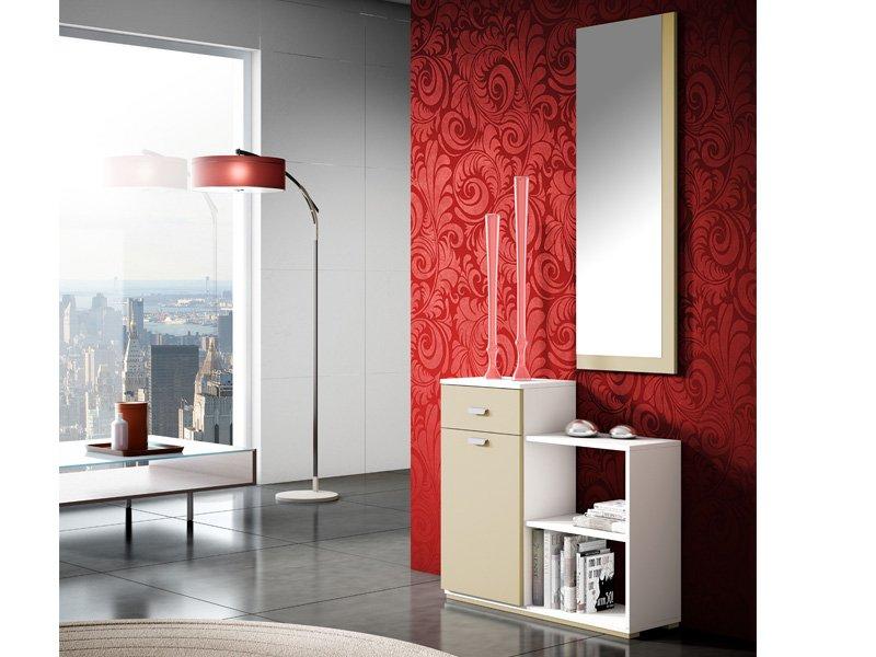 Recibidor con taquill n estantes y espejo color blanco y for Espejo recibidor blanco