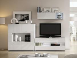 Mueble apilable de salón en blanco brillo