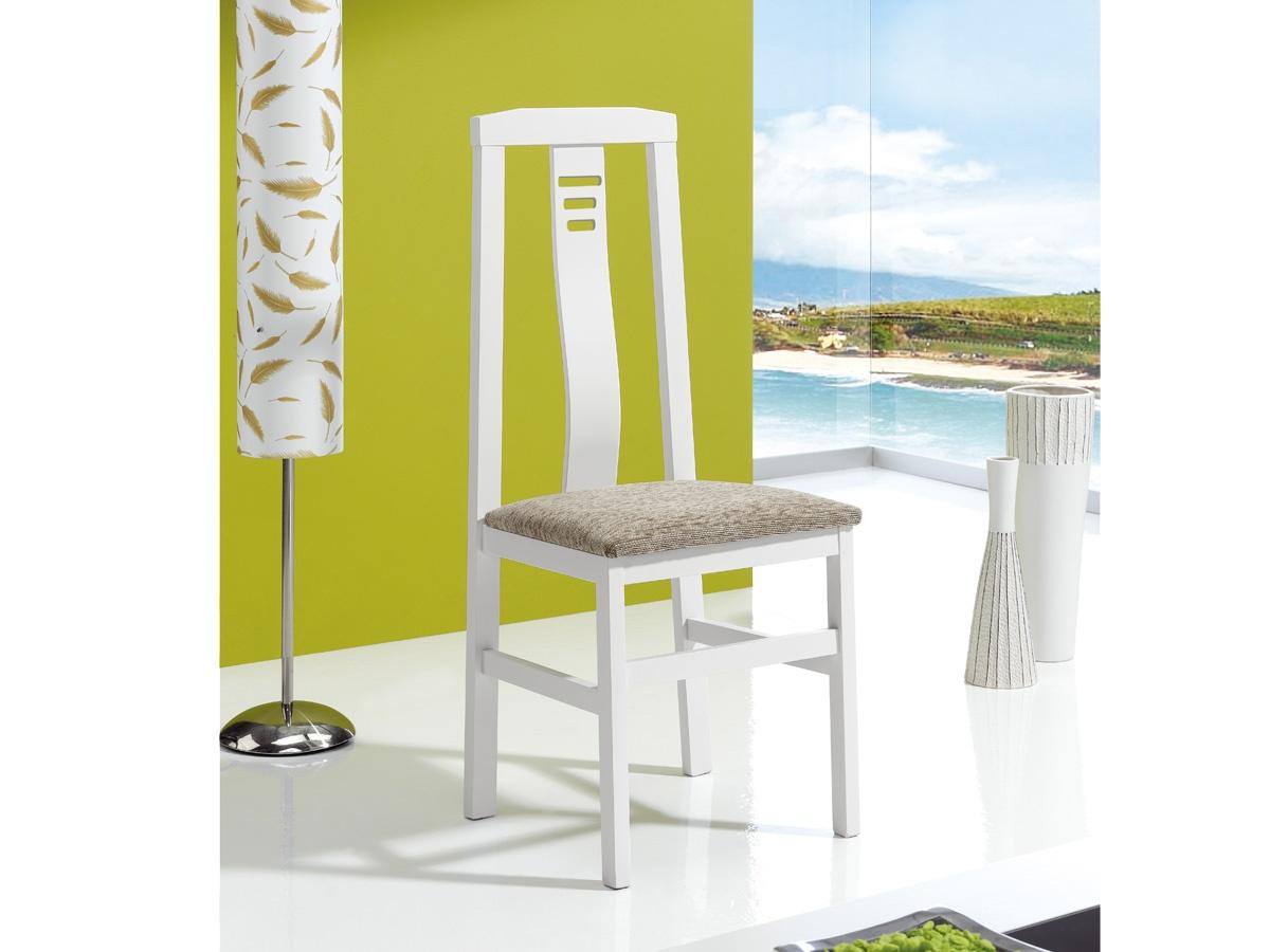 Silla de madera para el sal n en oferta respaldo franja for Oferta sillas madera