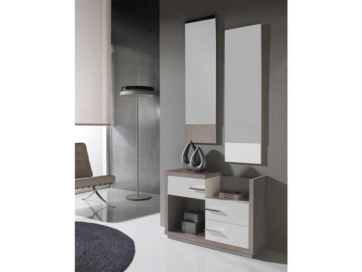 mueble de entrada moderno color nogal y detalles en vis n