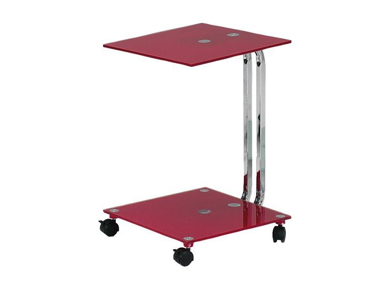 Mesa de cristal con ruedas de estructura cromada en oferta - Mesita auxiliar con ruedas ...