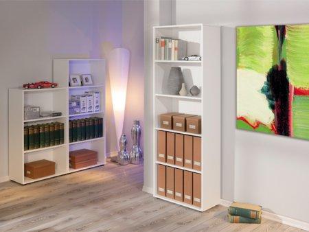Estanter a de oficina cl sica en color blanco con 5 huecos for Estanterias oficina