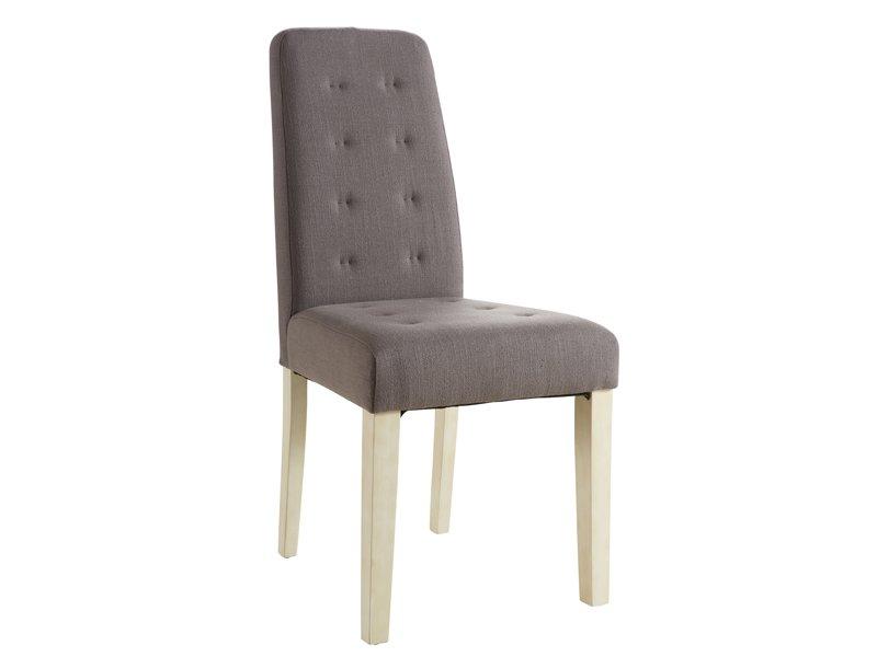 silla tapizada de estilo capiton en lino o chocolate para