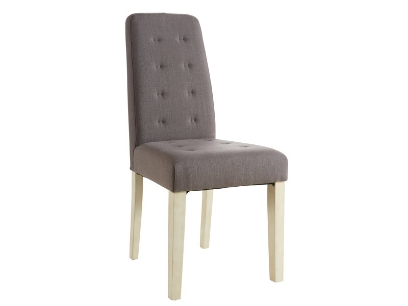 Silla tapizada de estilo capiton en lino o chocolate para for Estilos de sillas para comedor