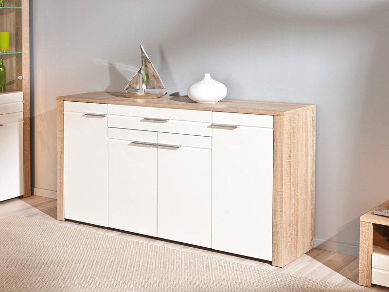 Mueble de sal n en roble y frentes en blanco de alto brillo for Mueble blanco y roble