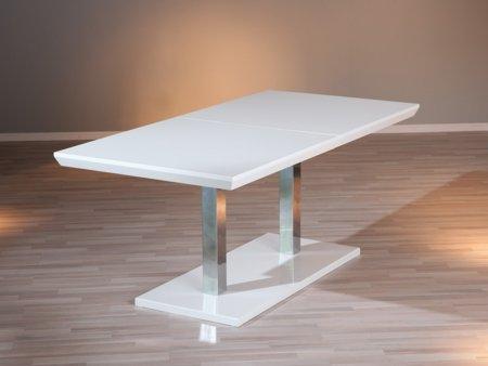 Mesa de comedor extensible blanca mesita de sal n deslizante for Mesa comedor pata central
