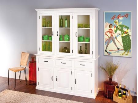 Aparador de comedor blanco con puertas cajones y estanter a - Muebles vitrinas para comedor ...