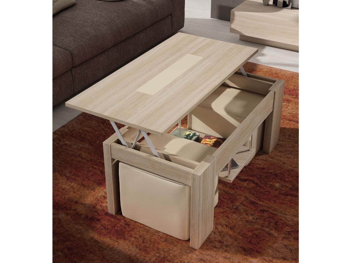 Mesa centro con pouff, mesa de centro elevable en varios colores