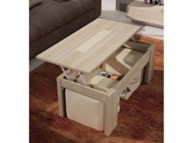 Mesa de centro elevable con pouffs