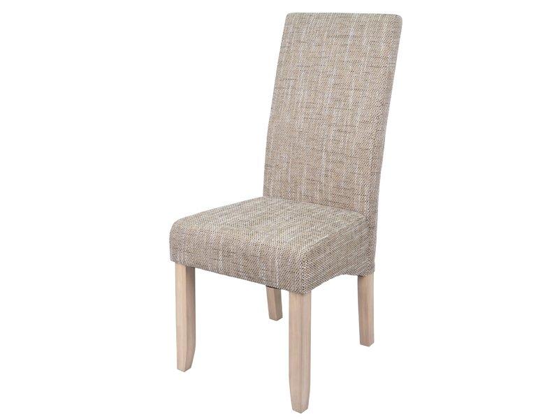 Silla natural para sal n tapizada con patas de madera a juego for Sillas de madera para salon