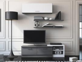 Mueble para televisión con vitrina