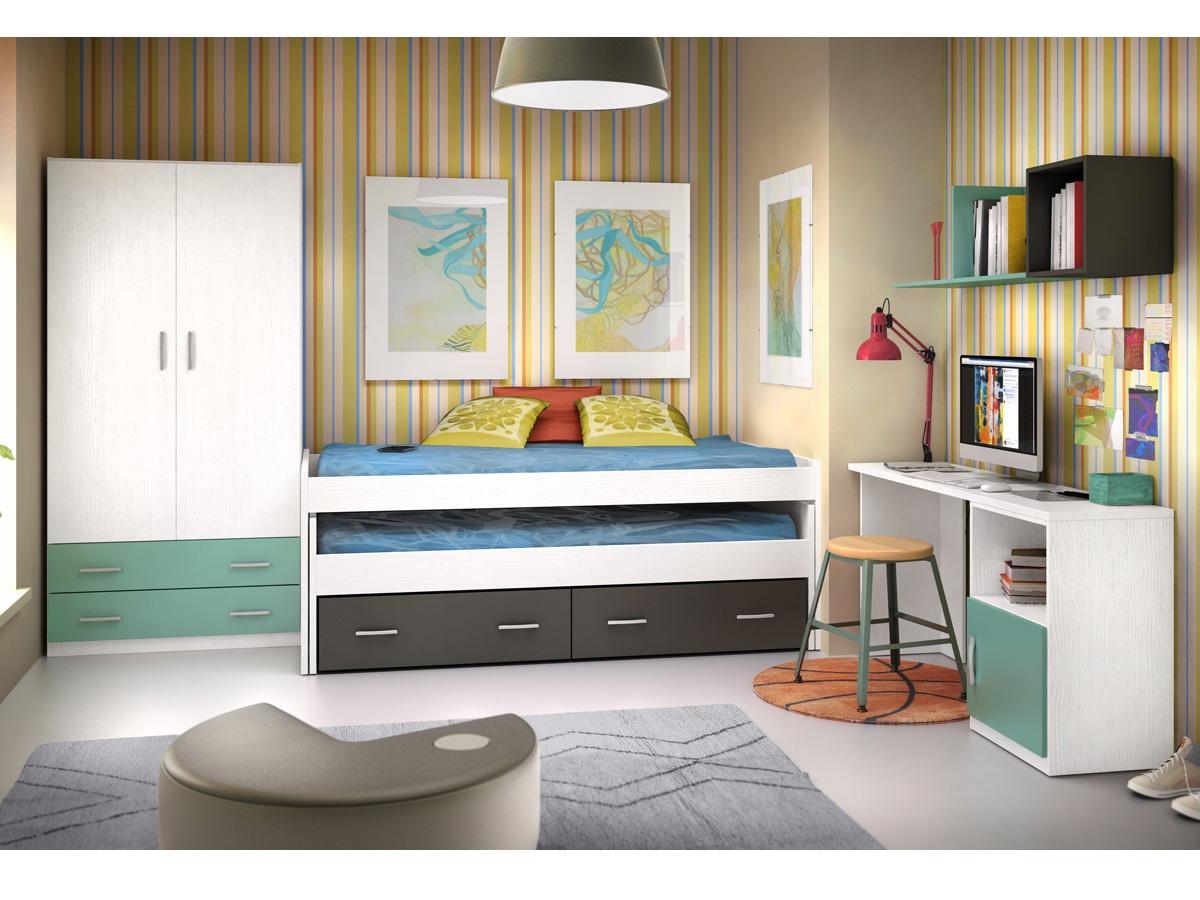 Habitaci n joven de dos camas nido en block personalizable - Dormitorios juveniles de dos camas separadas ...