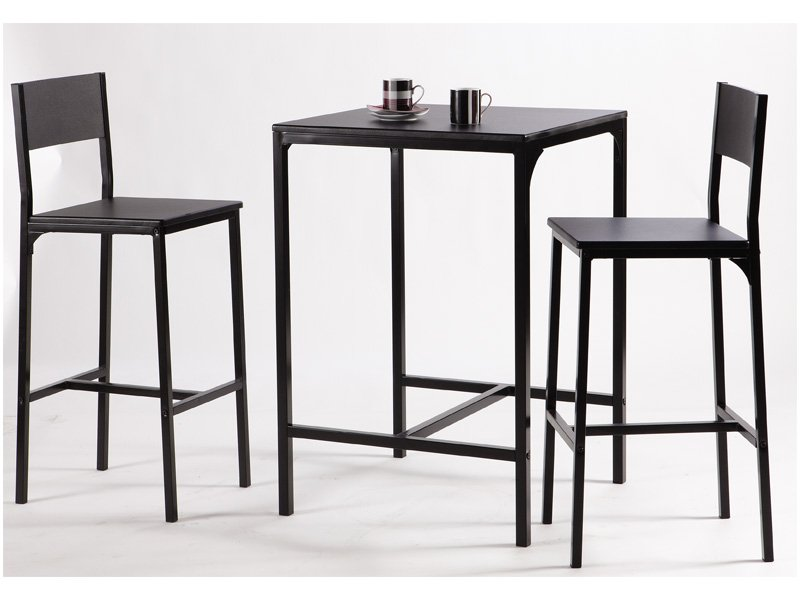 mesa alta y dos taburetes pack de color negro para el sal n