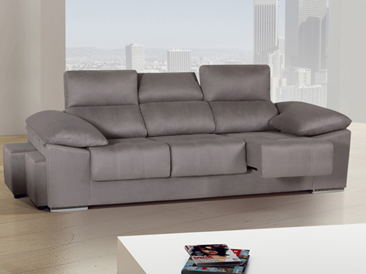 Sof grande de 3 plazas xl con brazos inclinados y puffs for Sofas de piel con cheslong