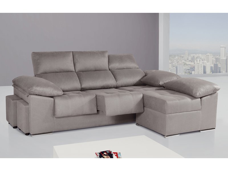 Sof de 3 plazas con m dulo chaise longue partido y puff for Sofas cama chaise longue