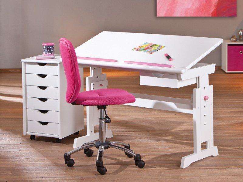 Escritorio juvenil en rosa y azul estilo pupitre de for Sillas escritorio juvenil