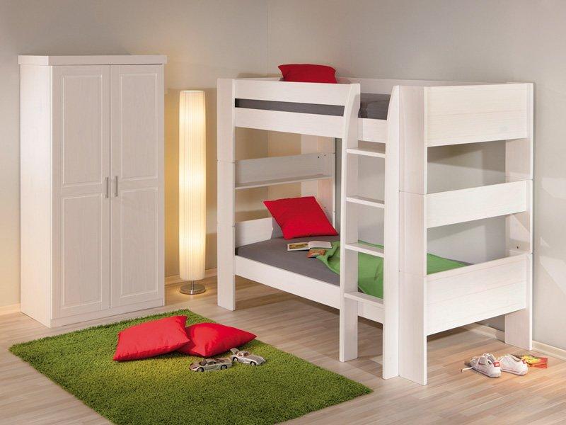 Litera cama de pino lacada en color blanco para j venes y - Camas dobles infantiles para espacios reducidos ...