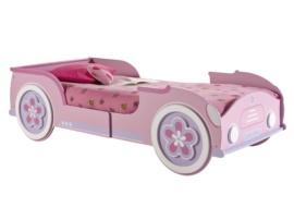 Cama rosa para niña con forma de coche