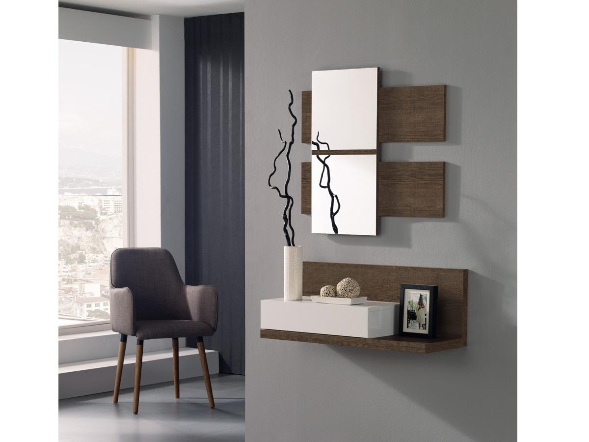 Consola con espejo para recibidor en nogal y caj n en vis n for Espejos decorativos para pasillos