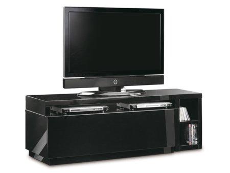 Mueble de televisi n giratorio lacado en blanco o negro for Mueble salon lacado alto brillo
